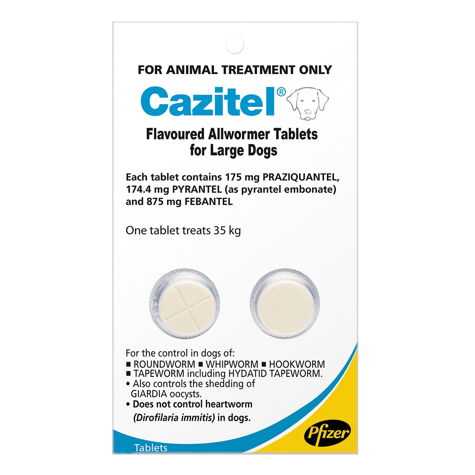 Cazitel Flavoured Allwormer For Large Dogs 77 lbs.