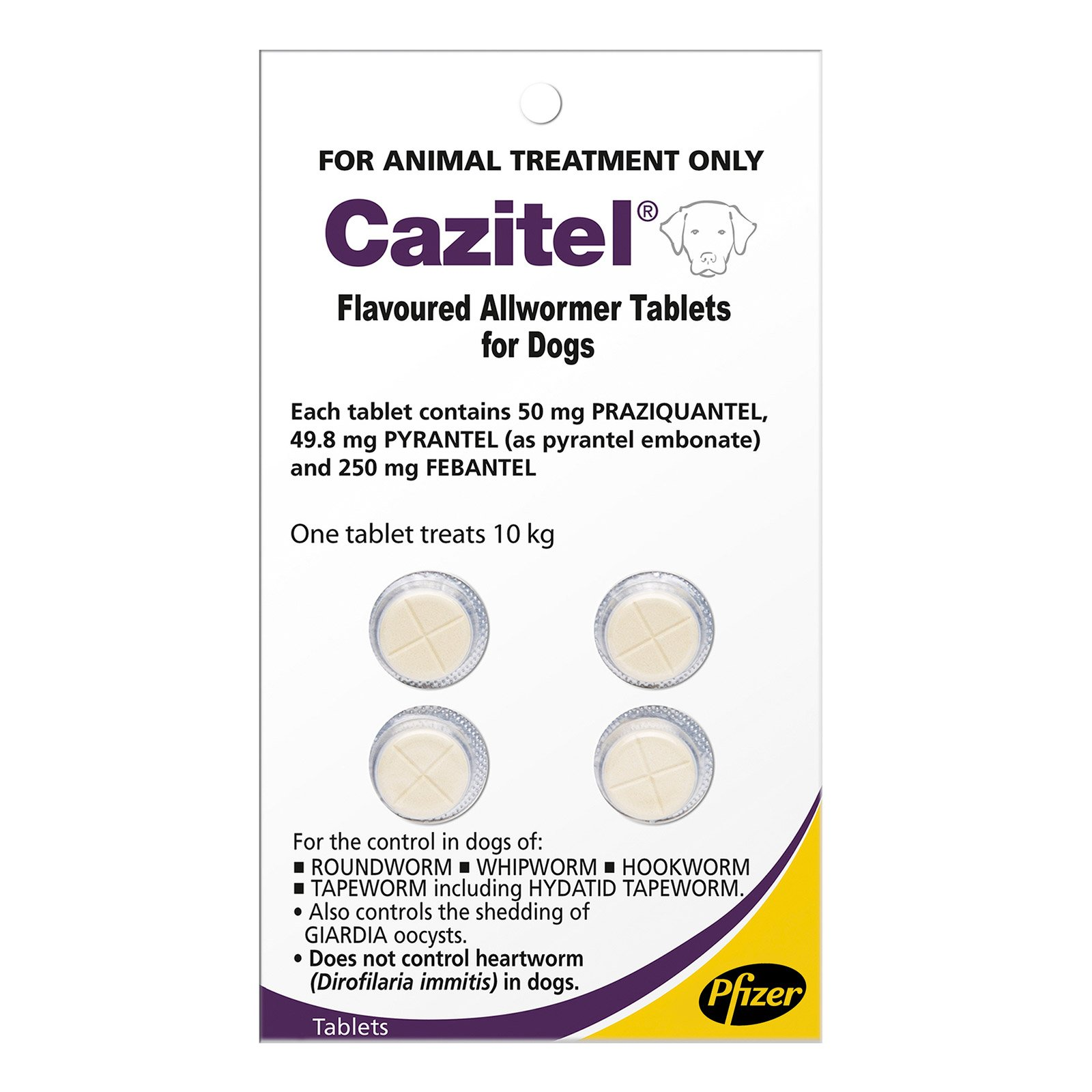 Cazitel Flavoured Allwormer for Small Dogs 22 lbs.