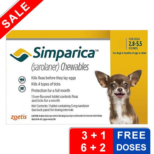 Simparica Chewables for Dogs 2.8-5.5 lbs (Yellow)
