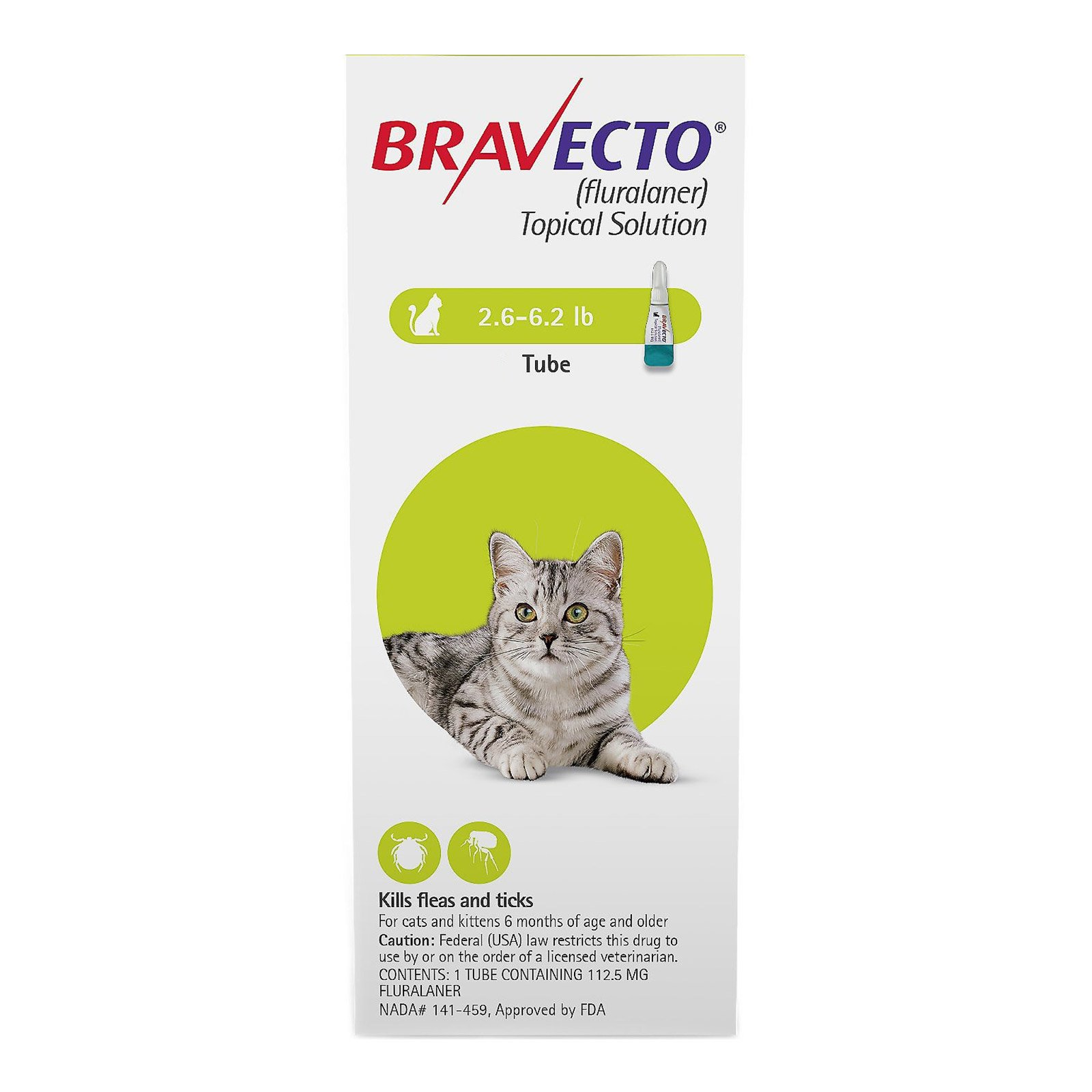 Bravecto Spot-On  for Small Cats 2.6 lbs - 6.2 lbs
