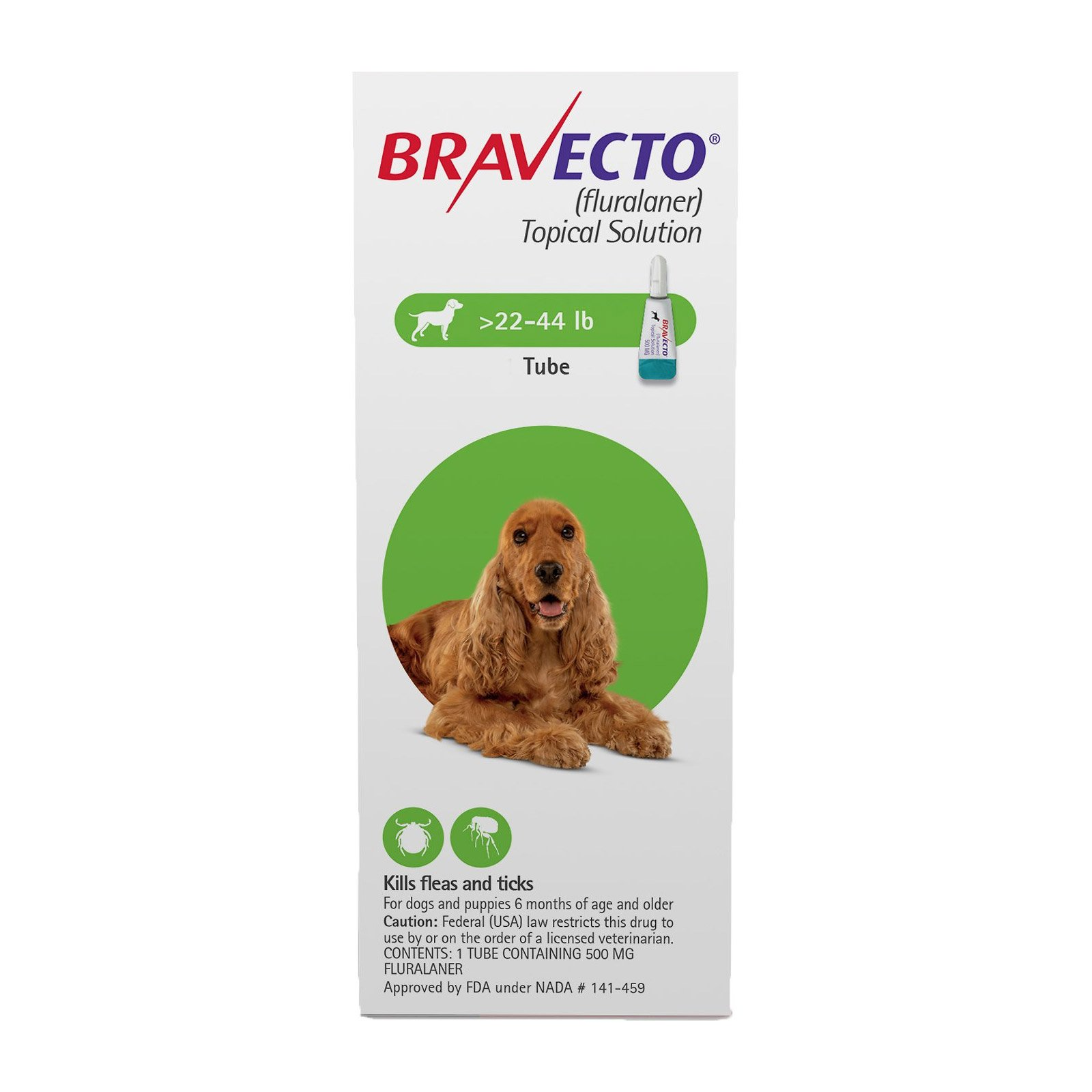 Bravecto Topical for Medium Dogs (22 - 44 lbs) Green