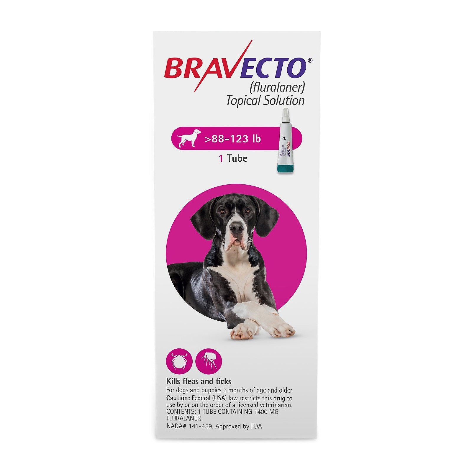 Bravecto Topical for X-Large Dogs (above 88 lbs) Pink