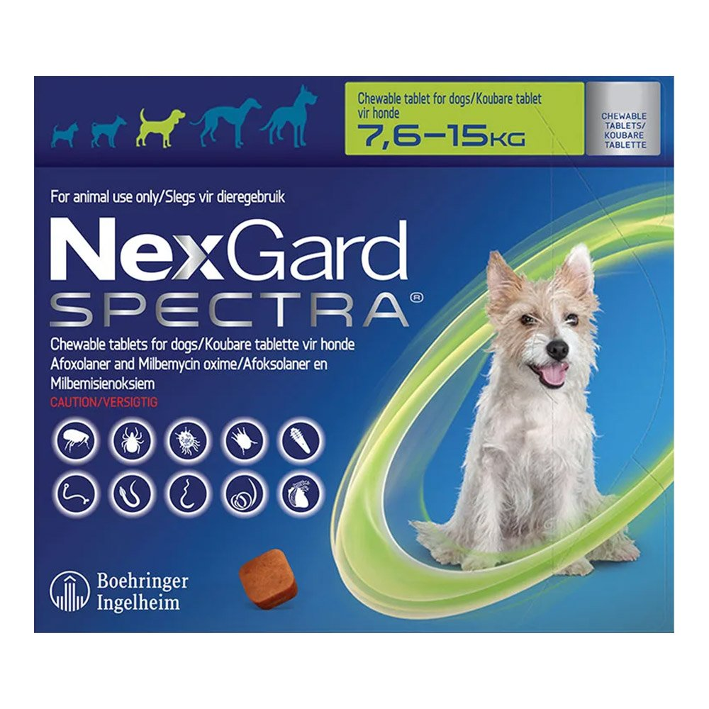 Nexgard Spectra for Medium Dogs 16.5-33 lbs (Green)