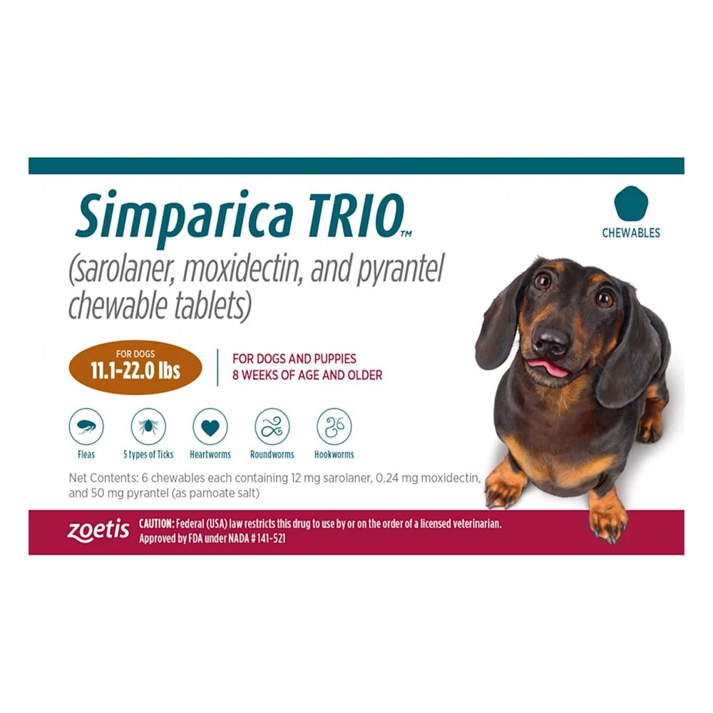 Simparica TRIO for Dogs 11.1-22 lbs (Caramel)