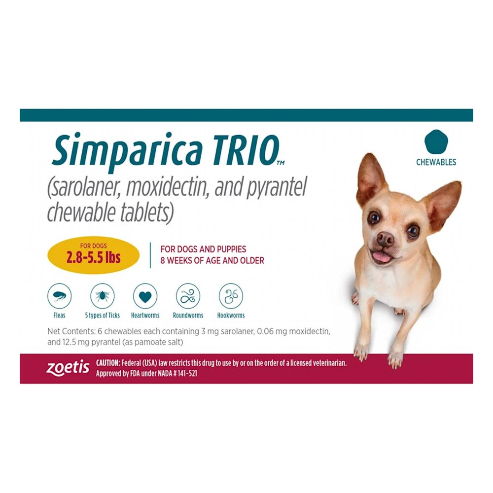 Simparica TRIO for Dogs 2.8-5.5 lbs (Gold)