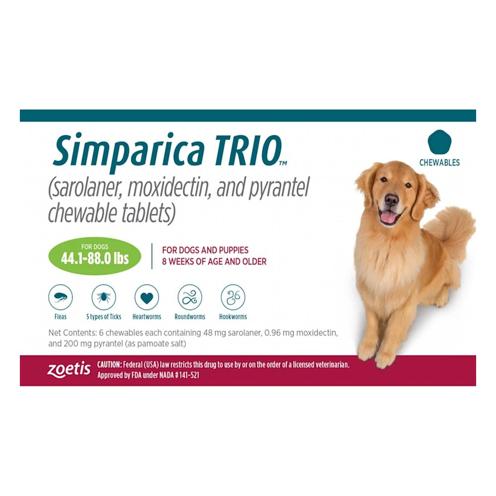 Simparica TRIO for Dogs 44.1-88 lbs (Green)