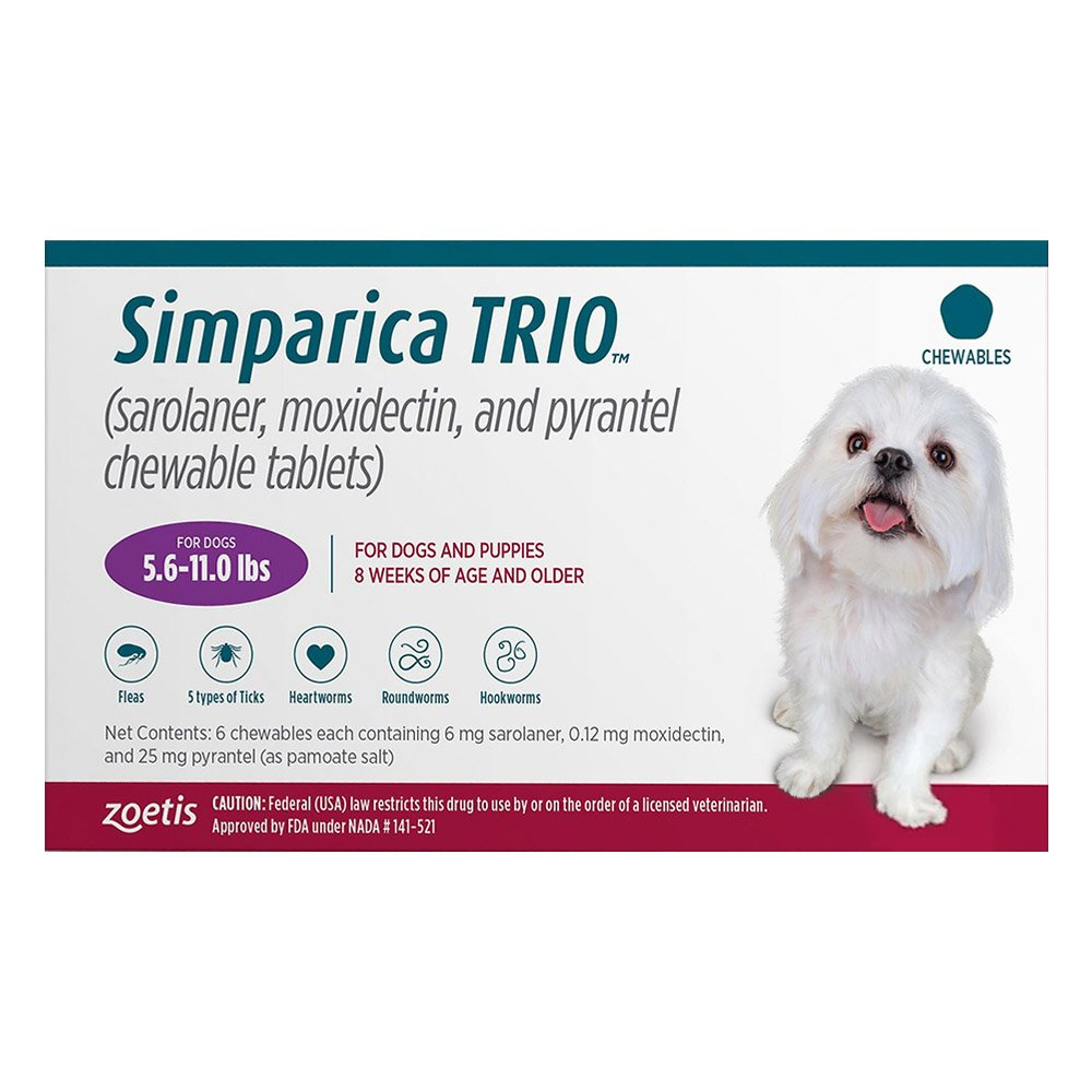 Simparica TRIO for Dogs 5.6-11 lbs (Purple)
