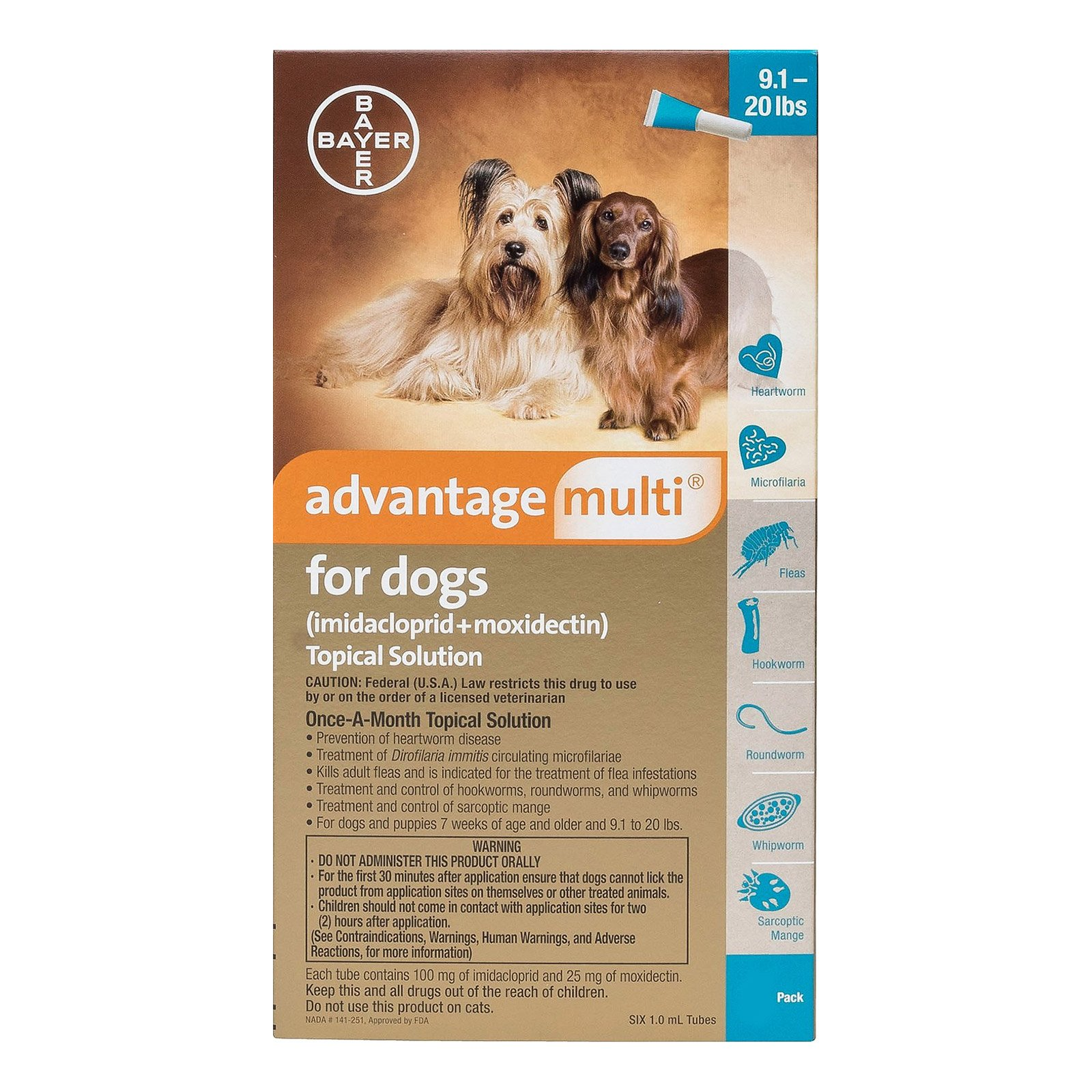 Advantage Multi (Advocate) Medium Dogs 9.1-20 lbs (Aqua)