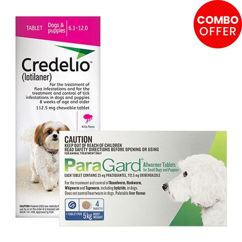 Credelio + Paragard Allwormer Combo Pack  - For Small Dogs (6-12lbs)6 Doses of Credelio Dogs (Pink) + 4 Tablets of Paragard Dogs (Blue)