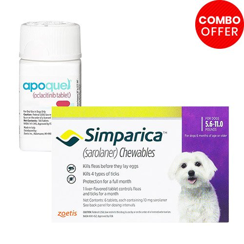 Simparica + Apoquel  Combo Pack  - For Very Small Dogs (5.5-11lbs)6 Doses of Simparica (Purple) + 10 Tablets of Apoquel For Dogs (3.6 mg)