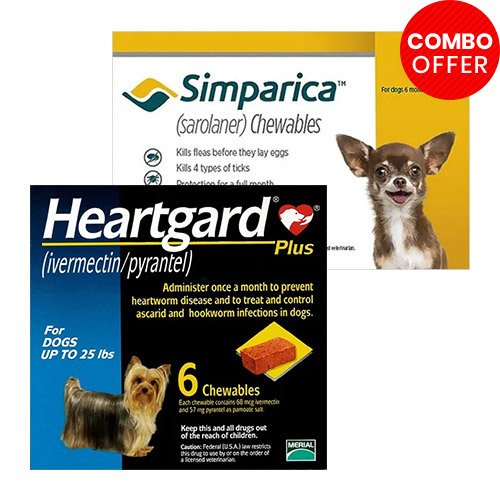Simparica + Heartgard Plus Combo Pack  - For Very Small Dogs (2.8-5.5lbs)6 Doses of Simparica (Yellow) + 6 Doses of Heartgard Plus (Blue)