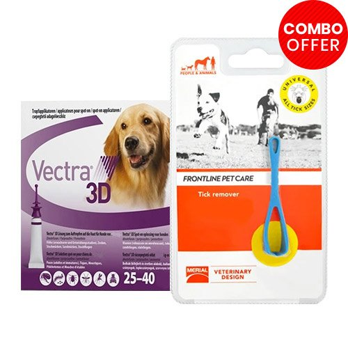 Vectra 3D + Frontline Pet Care Tick Remover Combo   - For Large Dogs (55-88lbs)6 Doses of Vectra 3D (Purple) + 1 Piece of Tick Remover