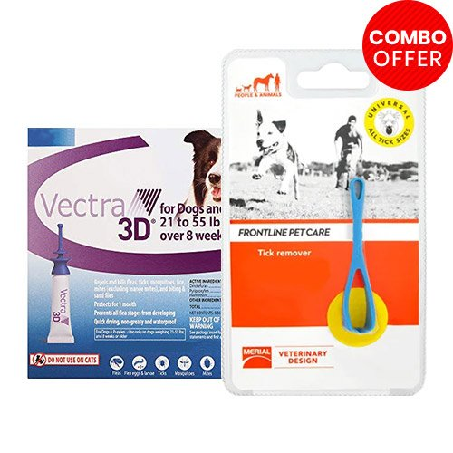 Vectra 3D + Frontline Pet Care Tick Remover Combo   - For Medium Dogs (22-55lbs)6 Doses of Vectra 3D (Blue) + 1 Piece of Tick Remover