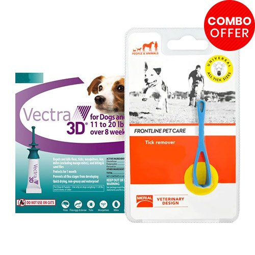 Vectra 3D + Frontline Pet Care Tick Remover Combo   - For Small Dogs (8-22lbs)6 Doses of Vectra 3D (Green) + 1 Piece of Tick Remover
