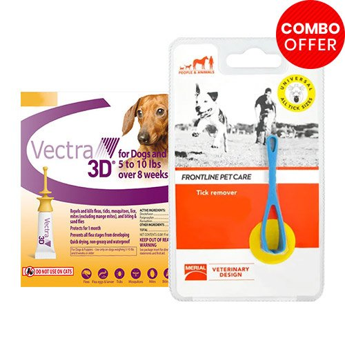 Vectra 3D + Frontline Pet Care Tick Remover Combo   - For Very Small Dogs (8lbs)6 Doses of Vectra 3D (Orange) + 1 Piece of Tick Remover