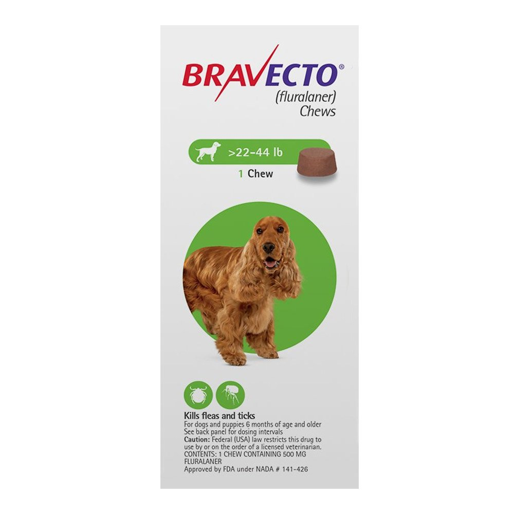 Bravecto for Medium Dogs 22- 44 lbs (Green)