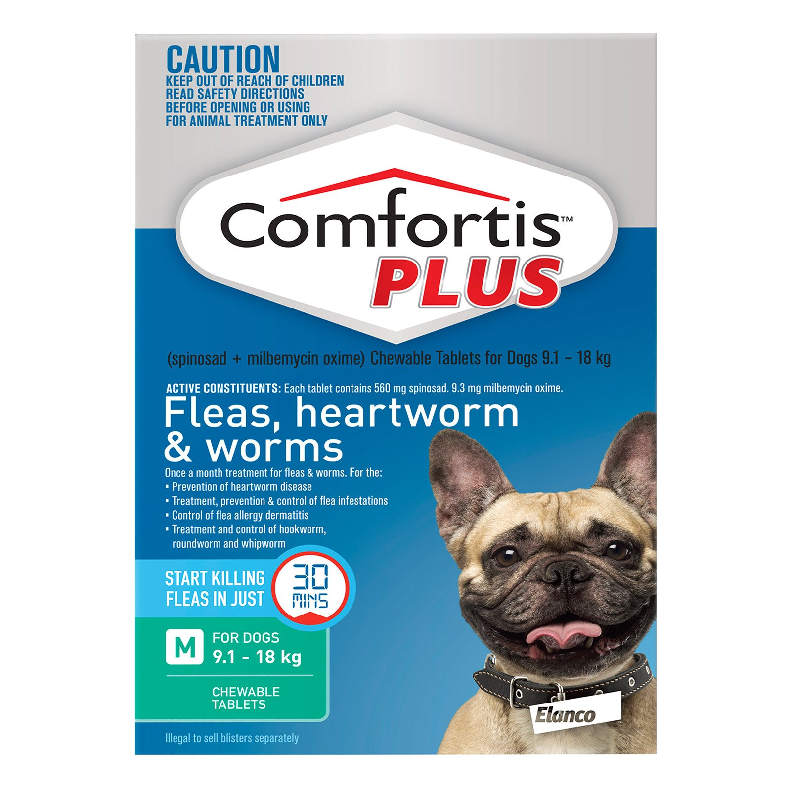 Comfortis Plus (Trifexis) For Medium Dogs 9.1-18 Kg (20.1 - 40lbs) Green