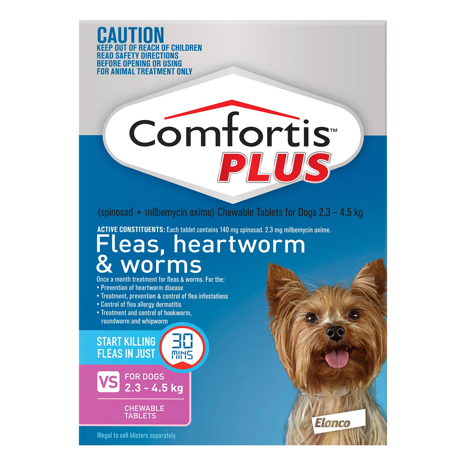 Comfortis Plus (Trifexis) For Very Small Dogs 2.3-4.5 Kg (5 - 10lbs) Pink