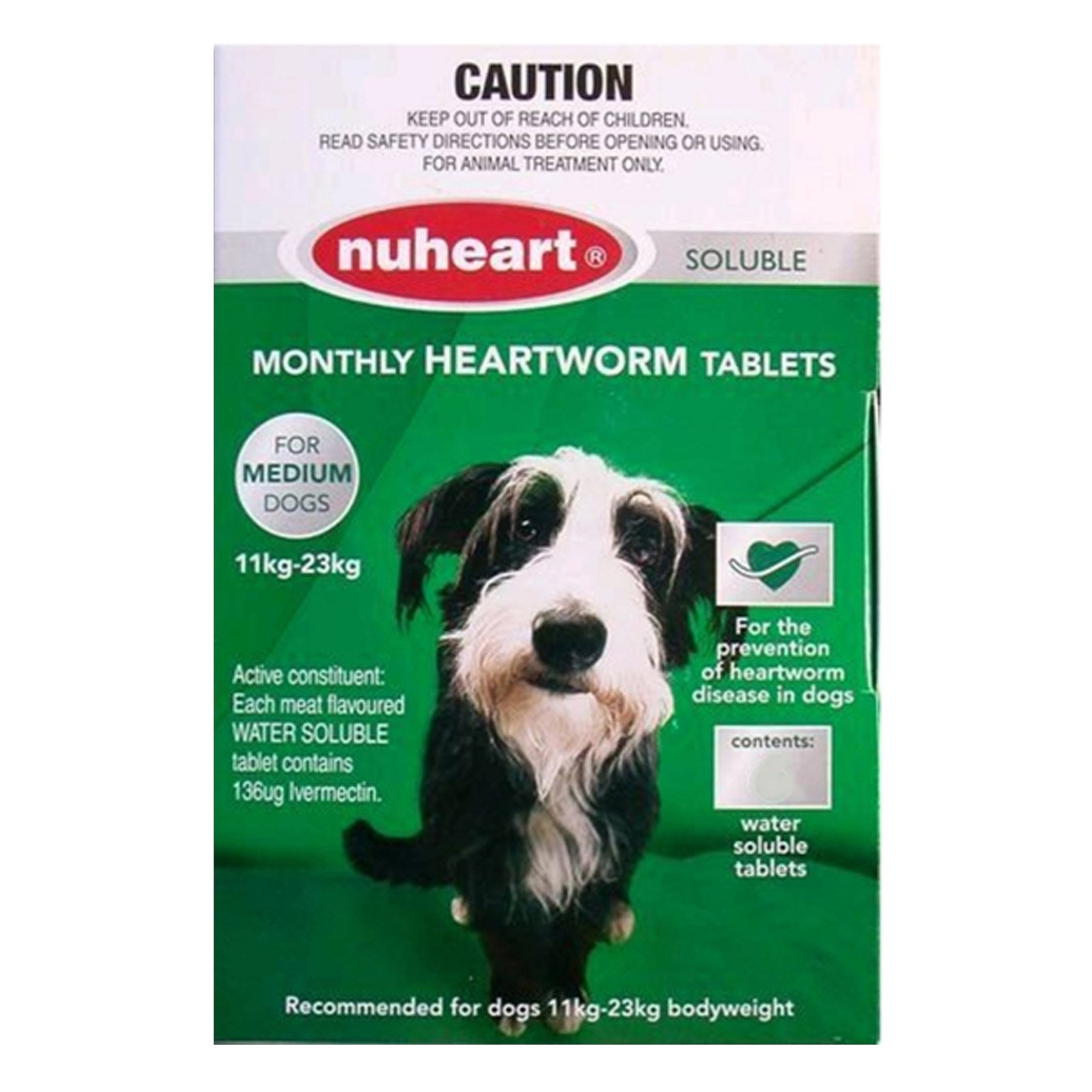 Nuheart Generic Heartgard   for  Medium Dogs 26-50lbs (Green)