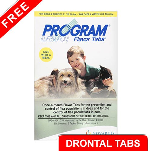 Program Flavour Tabs For Dogs 14.8 - 44lbs (Brown) - Free Drontal Tabs (Large)