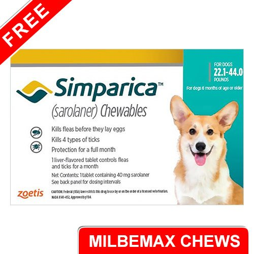 Simparica Chewables for Dogs 22.1-44 lbs (Blue) -  FREE MILBEMAX CHEWS (SMALL)