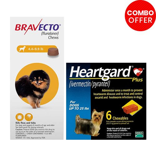Bravecto Chews + Heartgard Plus Combo Pack for Dog Supplies